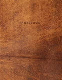 Notebook: Beautiful light brown leather style | 150 College-ruled lined pages 8.5 x 11 (Leather collection)