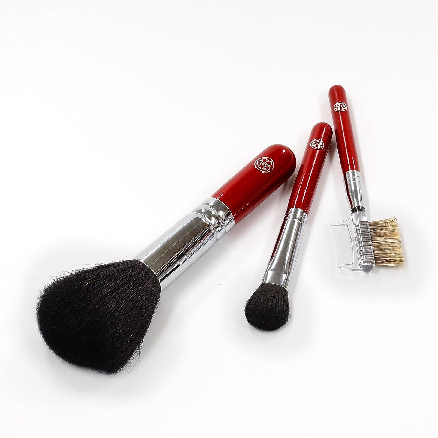 免疫情熱的販売計画ARRS-S3さくら筆 まずはこの3本から 基本の化粧筆 3本セット パウダー アイシャドー ブラシ&コーム 六角館さくら堂 ロゴ入り 女性の手になじみやすい赤軸ショートタイプ 熊野筆