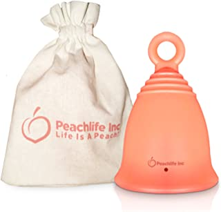 Menstrual Cup with Ring for Easy Removal - 12 Hour No Spill - Pad and Tampon Alternative - FDA Approved Medical Grade Silicone - PEACHCUP by PEACHLIFE INC