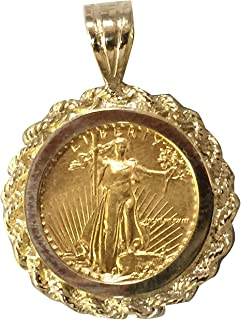 22K Fine Gold 1/10 Oz Lady Liberty Coin Set with -14K Rope Frame Pendant (5619(Random Year)