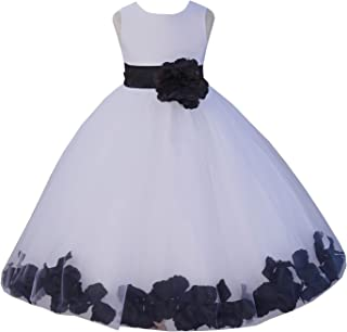 EkidsBridal White Floral Rose Petals Flower Girl Dress Birthday Girl Dress Junior Flower Girl dresses 302s