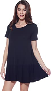 A+D Womens Loose Trapeze Dress - Shortsleeve Crewneck Tunic