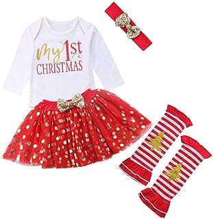 Dangslxm Newborn Baby Girls My 1st Christmas Costume Romper Bodysuit Headband Leg Warmer Tutu Dress up 4pcs Xmas Outfits
