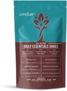 Vegan Meal Replacement Powder by LYFE Fuel | All-in-One Superfood Shake - Plant-Based Protein, Organic Greens, Essential Vitamins & Minerals | Low Carb, Soy-Free, Gluten-Free | 14 Chocolate Meals