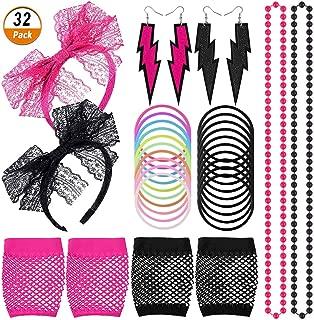 Kulannder 80er Jahre Party Kostüm Damen 1980s Accessoires Set Damen Neon Armband Ohrringe Fischnetz Handschuhe Neo Kunststoff Halskette lace 80s Lace Stirnband für Retro Fashion