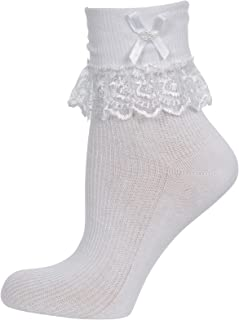 Baby Cream Pink and White Jester Frilly Lace Socks 1 Pair Or 3 Pairs Lot