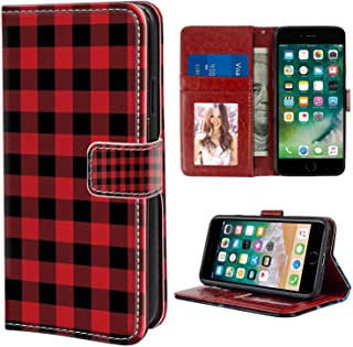 iPhone 6 Plus, iPhone 6S Plus Wallet Case, Plaid Lumberjack Fashion Buffalo Style Checks Pattern Retro Style with Grid Composition Orange Black PU Leather Folio Case with Card Holder and ID Coin Slot