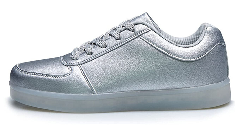 7 Colors LED Luminous Shoes Unisex Sneakers Men & Women Sneakers USB Charging Light Shoes Colorful Glowing Leisure Flat Shoes(10D(M) US) Silver