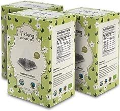 Yikfong Organic Tea Jasmine Green, 60 Tea Bags( 20 Bags Per Box), Classic Green Tea Scented with Real Organic Jasmine Blossoms in Triangle Filter Tea Bag