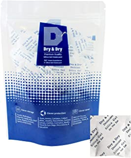 Dry & Dry 2 Gram [100 Packets] Premium Pure Silica Gel Packets Desiccant Dehumidifier - Food Safe Rechargeable Silica Packets Silica Gel Packs