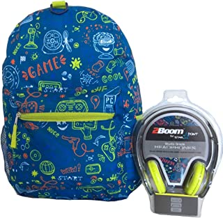Blue Gamer All over Print 17 Inch Backpack with Headphones