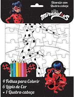 Livro Infantil Colorir Ladybug Miraculous com Quebra Cabeça Ciranda, Multicor
