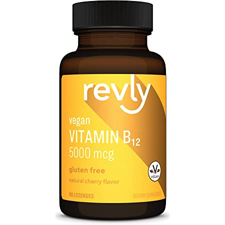Amazon Brand - Revly Vitamin B12, 5000 mcg, Cherry Flavor - Normal Energy Production and Metabolism, Immune System Support - 60 Lozenges, 2 Month Supply, Vegan