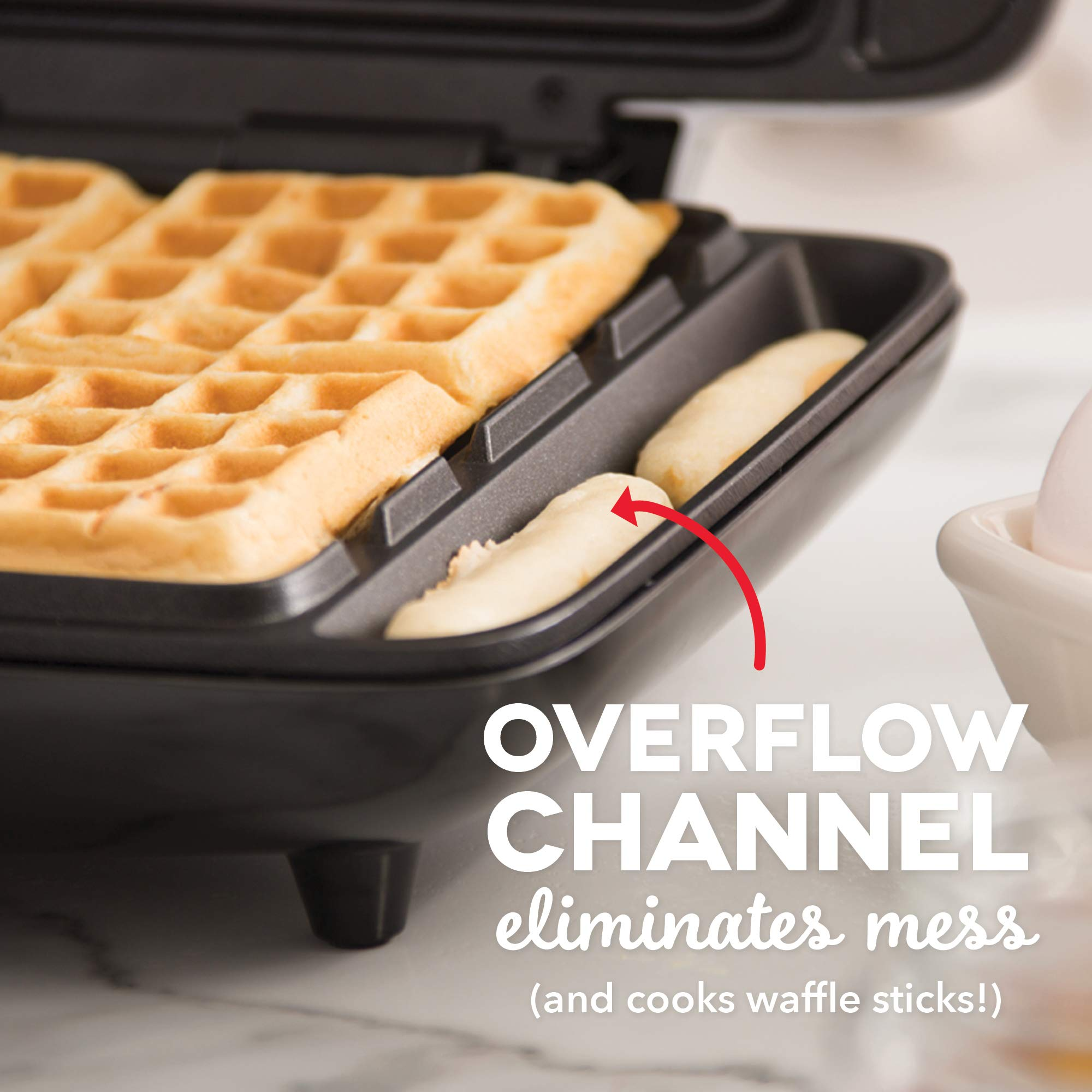 Dash DNMWM455RD Deluxe No-Drip Belgian Waffle Maker: Iron 1200W Machine + Hash Browns, or Any Breakfast, Lunch, & Snacks with Easy Clean, Non-Stick + Mess Free Sides, Red