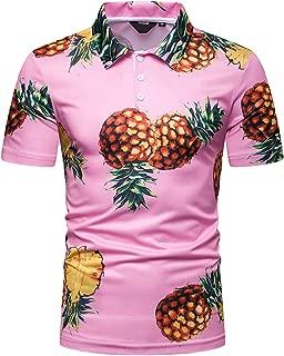 Mens Casual Short Sleeve Hawaiian Print Polo Shirt