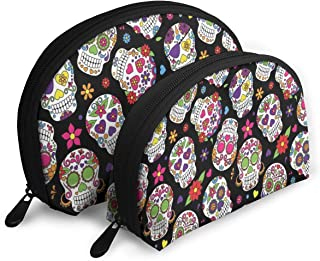 UnstnOhss Festive Graveyard Mexico Ritual Portable Travel Cosmetic Bags Makeup Pouch Organizer Multifunction Storage Bags for Women and Girls