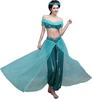 Women's Hand Sewing Sequins Shinny Dancing Party Princess Costume Dress