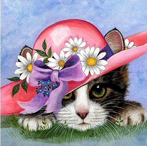 comprar mejor XIGZI Diamante Pintura Dibujos Animados Lindo pequeño Gato Punto de de de Cruz Dormitorio sin Marco  primera vez respuesta