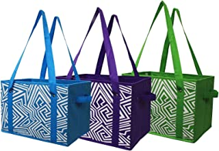 Earthwise Deluxe Collapsible Reusable Shopping Box Grocery Bag Set with Reinforced Bottom..