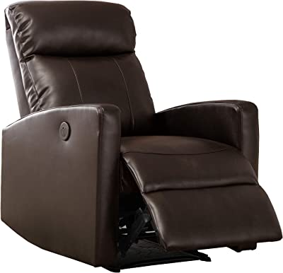Benjara Leatherette Power Recliner Chair with Sloped Track Arms, Brown