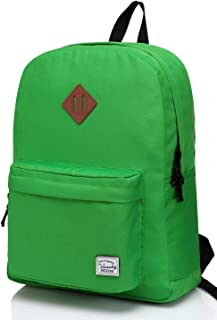 Vaschy Lightweight Backpack,20 Liters Classic Basic Waterproof Foldable Rucksack for Sports and Traveling,School Backpack for Girls Women in Light Green