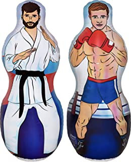 ImpiriLux Inflatable Two Sided Karate and Boxing Punching Bag   Includes One Inflatable 5 Foot Tall Bop Bag with Illustrat...