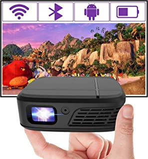 Mini Pocket Projector Portable, Bluetooth Video WiFi DLP Projector HD 1080P Support Android 7.1 HDMI USB for Home Cinema ,...