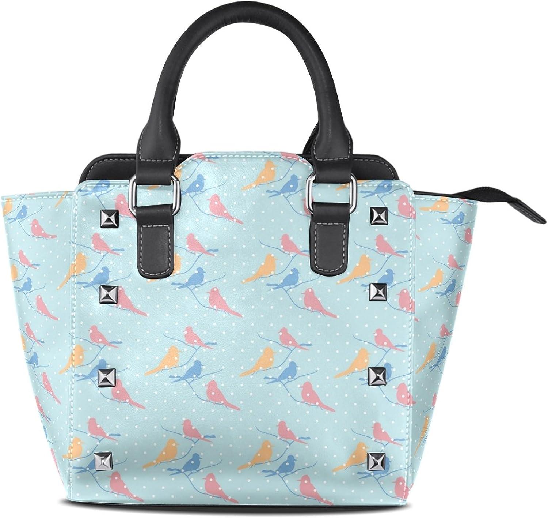 My Little Nest Women's Top Handle Satchel Handbag Birds Pattern Ladies PU Leather Shoulder Bag Crossbody Bag