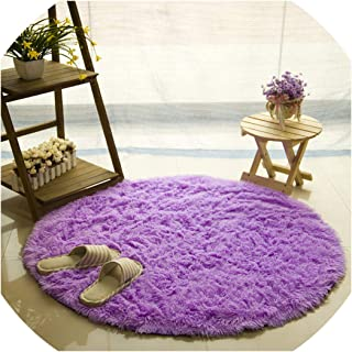 Fluffy Round Rug Carpets for Living Room Kilim Faux Fur Carpet Kids Room Long Plush Rugs for Bedroom Area Rug White,Purple,Diameter 100Cm