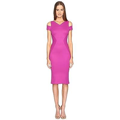 Zac Posen Bondage Jersey Cold Shoulder Short Sleeve Dress (Magenta) Women