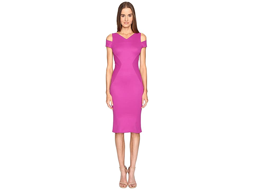 Zac Posen Bondage Jersey Cold Shoulder Short Sleeve Dress (Magenta) Women