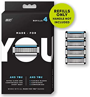 Made for YOU by BIC Shaving Razor Blades for  Every Body -  Men and Women, 4-Count - Refill Cartridges with 5 Blades for a  Close Shave with Aloe Vera and Vitamin E for Smooth Glide