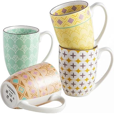 vancasso, Série Tulip, Tasses Mugs en Porcelaine, 4 Pièces 300ml, Ensemble de Tasse à Café Thé, Faïence Style Marocain