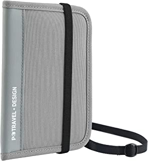RFID Travel Passport Wallet, Crossbody Wallet Purse with Removable Strap (PTRAVEL Series), Travel Documents Organizer, Bifold Zipper Wallet, 13 Pockets, Gray (Gray) - HZB-01