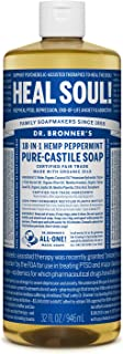 Dr. Bronner's - Pure-Castile Liquid Soap (Peppermint, 32 ounce) - Made with Organic Oils, 18-in-1 Uses: Face, Body, Hair, ...