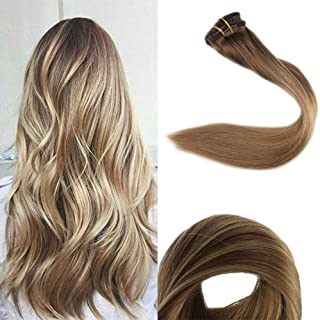 Full Shine 18 Inch 10 Pcs Blonde Balayage Clip In Hair Extensions Human Hair Ombre Pastel Hair Color 10/14 Brown Fading To Blonde Clip In Straight Hair Extensions 100 Gram Clip Hair Extensions