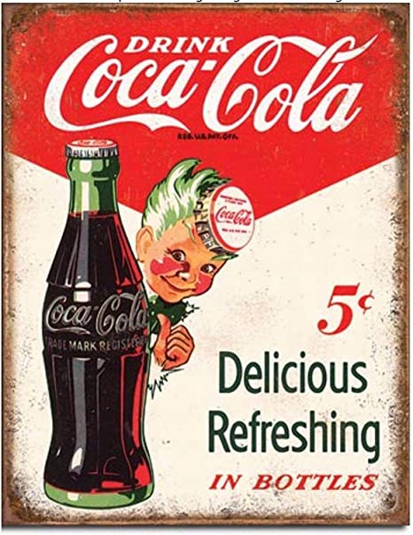 Amazon Com Ufcell 8x12 Vintage Retro Metal Tin Sign Drink Coke Coca Cola 5 Cents Home Look Wall Decor Home Kitchen