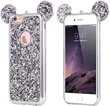 Apple iPhone 7 Plus/8 Plus Rhinestone Mouse Ears Design Cover Chrome Bumper Bling Sparkle Mickey Glitter Diamond Character Case Drop Protection Minnie Cover [TPU Case] By Tech Express (Silver)