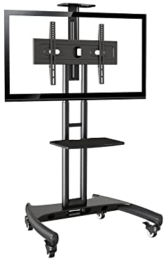 "Rocelco VSTC 32""-70"" Mobile Flat Screen, Monitor, A/V and TV Cart with A/V Component and Webcam Shelves (R VSTC), Black"