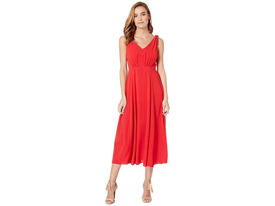 Betsey Johnson Tea Length Dress with Shoulder Ties (Red) Women