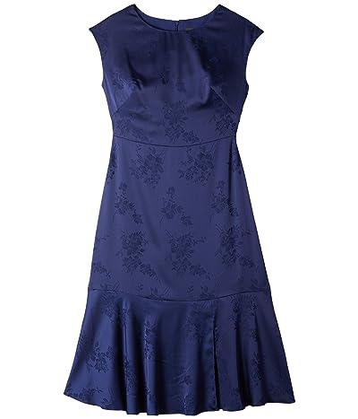 Adrianna Papell Satin Jacquard Midi Tie Dress (Navy) Women