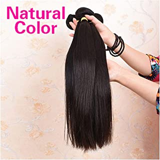 Brazilian Straight Hair Bundles With Closure 2/3 Bundles 100% Human Hair Weave Bundles With Closure Brazilian Hair Extensions,14 16 18+10Closure,Natural Color,Middle Part