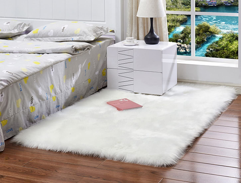 Deluxe Super Soft Faux Fur Sheepskin Rare Area Shaggy P Rugs Children 1 year warranty
