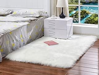 Meng Ge Deluxe Super Soft Faux Fur Sheepskin Shaggy Area Rugs Children Play Carpet for Living & Bedroom White