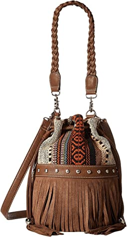 M&F Western Saddle Blanket Fringe Bucket Bag