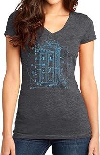 New York Fashion Police Vitruvian Police Box by Leonardo Da Vinci - Juniors T-Shirt