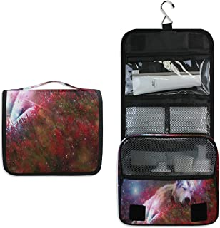 Hanging Toiletry Bag Wolf Galaxy Large Capacity Travel Bag for Women and Men - Toiletry Kit, Cosmetic Bag, Makeup Bag - Travel Accessories