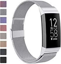ZWGKKYGYH Metal Bands Compatible with Fitbit Charge 4/Charge 3/Charge 3 SE, Stainless Steel Mesh Magnetic Band Replacement...