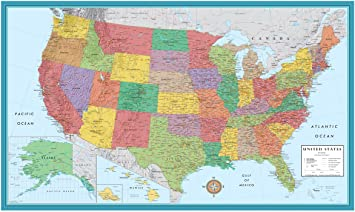 Large Map Of The Us Amazon.: 48x78 Huge United States, USA Classic Elite Wall Map