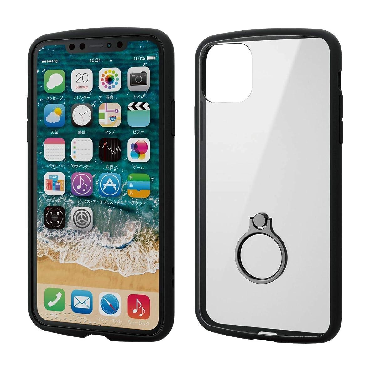 色シードの頭の上エレコム iPhone 11 Pro Max ケース 耐衝撃×フレーム スマホリング付 TOUGH SLIM LITE [背面クリアタイプ] ブラック PM-A19DTSLFCRBK
